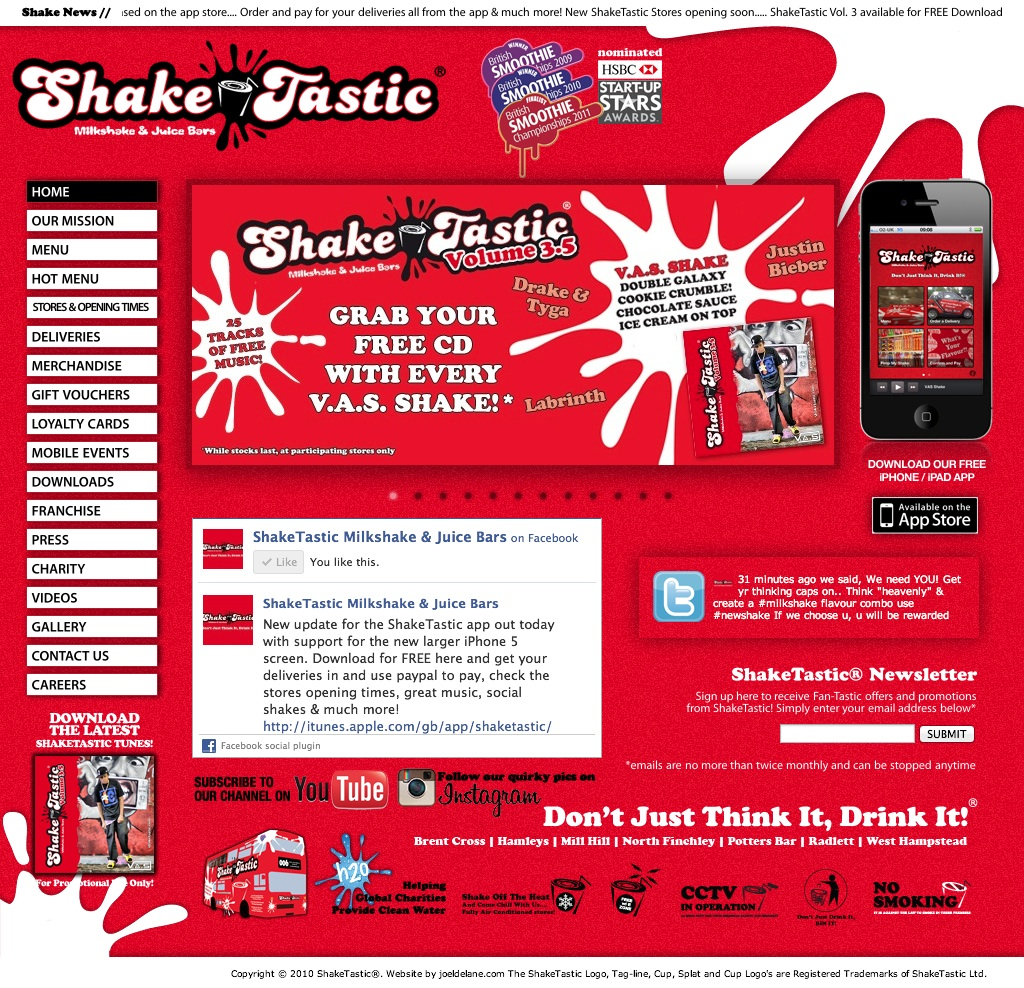 ShakeTastic® Website & iOS App
